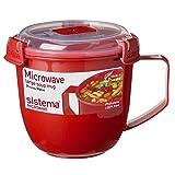 Mikrowellentasse Mikrowellenbecher Suppentasse to go, groß, BPA-freier Kunststoff, ca. 900 ml, ca. 13 x 15.5 x 12.5 cm, rot
