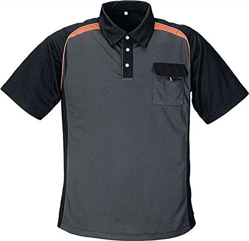 Preisvergleich Produktbild Poloshirt Gr.XXL dunkelgrau/schwarz/orange 50%PES/50%CoolDry mit Brusttasche