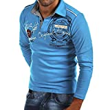 Xmiral Herren Sweatshirt Casual Slim Print Langarm Umlegekragen Plain Polo Shirt (XL,Blau)