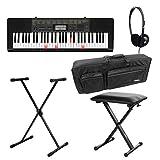 Casio LK-265CA Leuchttasten Keyboard Deluxe Set (61 Tasten, 32-fach polyphon, Dance Music Mode, Begleitautomatik, inkl. Ständer, Kopfhörer, Tasche und Bank) Schwarz