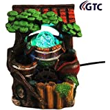 GTC Tree Nature Water Fountain Show Piece with Crystal Ball Led Light and Mini Pump Polystone (Multicolour)