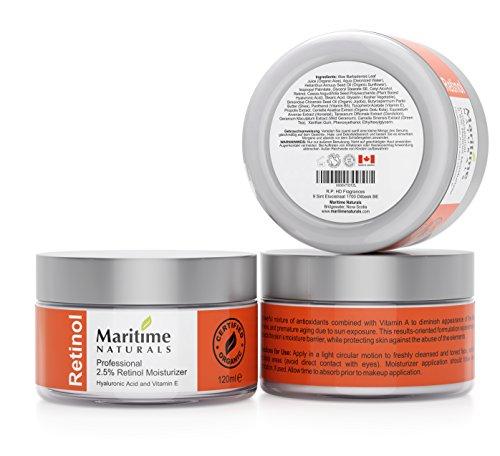 Inmensa 120 ml Crema Hidratante con Retinol + Ácido Hialurónico + Vitamina E Retinol de grado profesional Manteca de Karité Vegana Cuidado Natural de la piel por Maritime Naturals