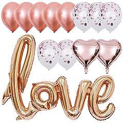 Idea Regalo - INTVN Palloncini Rosa Oro Palloncini Love Palloncini in Lattice Palloncini Coriandoli Palloncini Cuore per Matrimoni Compleanni Decorazione di Festa Palloncini