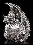 Schatulle - Drachen Figur auf Kugel silberfarben - Gothic Schmuck Kästchen Dose Box