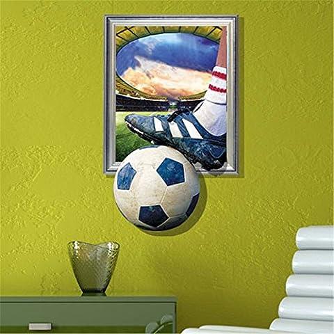 Cartoon dekorative Malerei Schlafzimmer Wohnzimmer Fernseher Sofa Hintergrund HD-Dimensionalen 3D Wall Sticker Wallpaper (Fußballspiel), 58 x 92 (Hd Weihnachten Wallpaper)