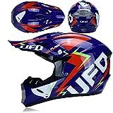 GHMHJH Motorrad-Integralhelm, Motocross-Helm (einschließlich Helm, Schutzbrille, Gesichtsmaske, Langlaufhandschuhe, Insgesamt Vier Sätze) (Color : 3, Size : L59~60CM)