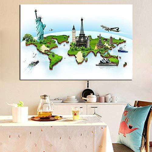 wanmeidp Flugzeug berühmte Gebäude Globus Malerei Tuch Malerei Poster und Druck minimalistischen Wohnzimmer Kinder Wandkunst Bild 40x60cm
