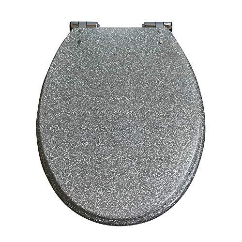 Toiletseai WC-Sitz WC-Sitz Absenkautomatik mit Pufferschale Deckel WC-Sitz für alle Badezimmer Silber