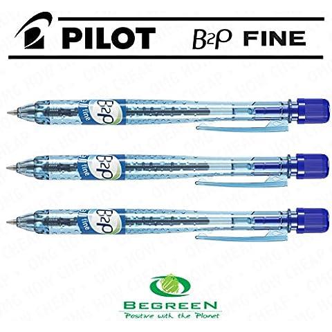 Pilot B2P–Penna a sfera, confezione da 10, colore: blu [94% di plastica riciclata]