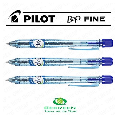 Pilot B2P-Penna a sfera retrattile, confezione da 3 pezzi, colore: blu [94] %plastica riciclata