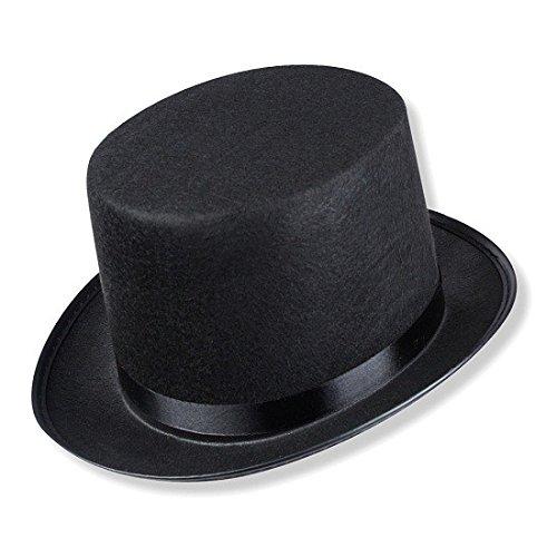 Schramm® Zylinder Hut mit Satinband Schwarz für Erwachsene Chapeau Zylinderhut -