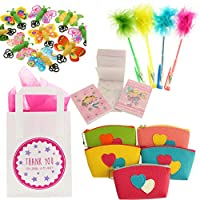 Girls Party Bags - Ready To Fill Paper Party Bag with an assortment of party bag fillers with Tissue Paper (Lily)