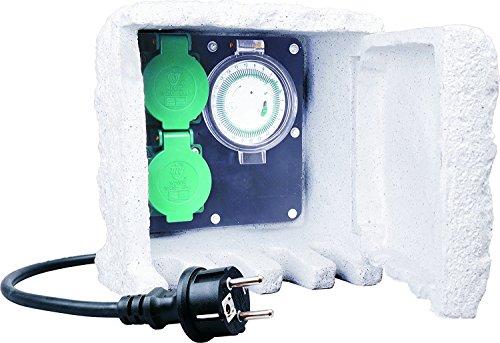 ELRO Gartensteckdose 2Fach Außensteckdose mit Zeitschaltuhr IP44 Steckdose für Außen mit 10 Meter Kabel