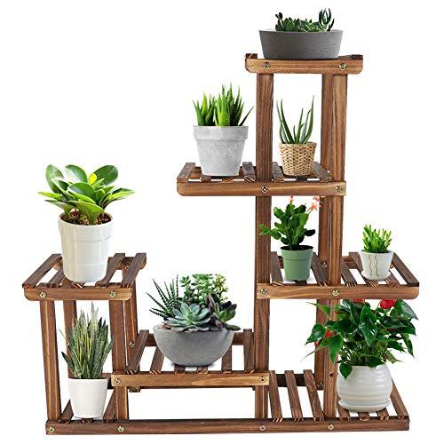 Ausla Multi-Ebenen Blumenregal, Holzpflanze Blumenständer, mehrstöckig Pflanzentreppe für Innen-Balkon Wohzimmer Outdoor Garten Deko