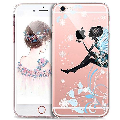 Kompatibel mit iPhone 8 Plus/7 Plus Hülle,Schmetterling Blumen Mädchen Vögel Handyhülle Silikon TPU Silikon Hülle Handyhülle Tasche Durchsichtig Schutzhülle,Blaue Schneeflocke Fee Mädchen Blumen
