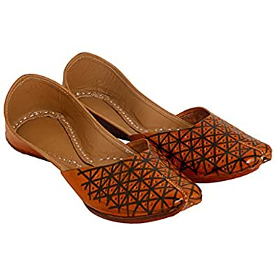 Art N Style Criss Cross Design Genuine Leather Rajasthani Jutti Ballerina for Women - 9