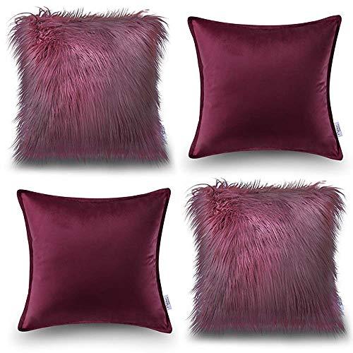 Oreiller Quatre pièces en coton de couleur unie Housse de coussin de canapé Salon Peluche Velvet Core Oreiller (Couleur : Rouge, taille : 50 * 50cm)