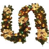 Jnseaol Kränze Girlanden 2.7M Treppe Kamin Fenster Weihnachtsbaum Büro Einkaufszentrum Dekoration Luxus 35 Farbwechsel Lampe Perlen,Golden Light