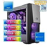 M&M Computer HighEnd PC Wasserkühlung RGB, Intel i7-9700K CPU Eight-Core, GeForce RTX2080-8GB Gaming, 480GB SSD, 4 TB HDD, 16GB DDR4 RAM, Gigabyte RGB Mainboard, Windows 10 Home