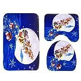 Natale Bagno Decorazione,Amlaiworld 3pcs/set Pedana Antiscivolo + Coperchio WC + Tappetino da Bagno (blu)