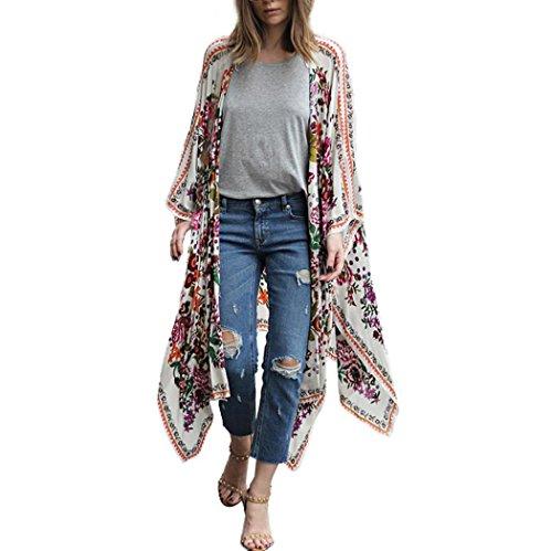 Xinan Damen Cardigan Floral Print Chiffon Locker Schal Kimono Top Cover Shirt Bluse (XL, Weiß) (Top Kimono)