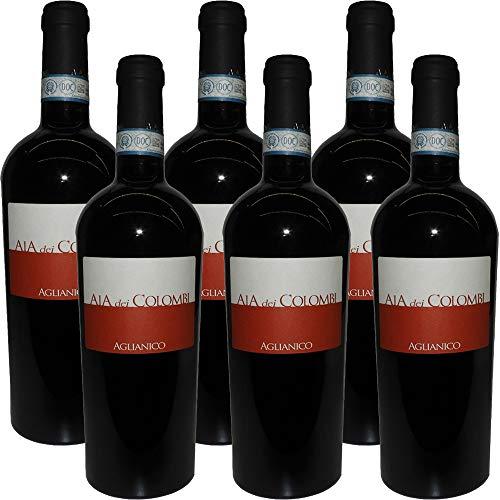 Aglianico DOC Sannio Aia Dei Colombi | Confezione da 6 Bottiglie da 75Cl | Packaging Esclusivo | Aglianico del Beneventano | Vino Campano | Idea Regalo