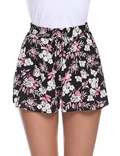 Aibrou Pantaloncini Donna Cotone 100/% Cotone Pigiama Shorty Cotone Estivo a Righe Pigiama Pantaloni Casual per Le Donne