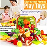PLUSPOINT Realistic Sliceable Cut Fruits and Vegetable with Basket (18pc)(7 Fruits ,7 Vegetables)