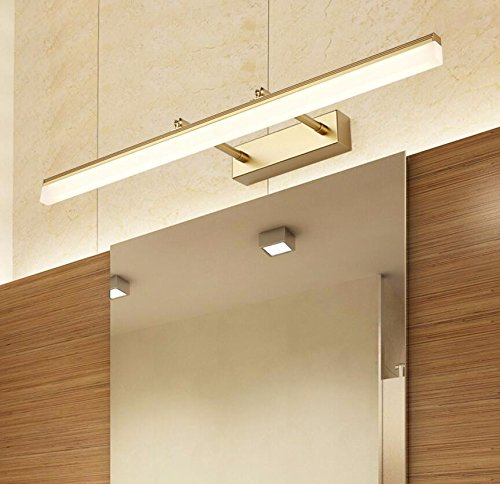 Badspiegel Lampe LisaFeng Anti Fog ausziehbaren Spiegel, Scheinwerfer, Badezimmer Wand Lampe, moderne, einfache wasserdicht Edelstahl Hocker, Goldene-50 CM Rasierer Golden