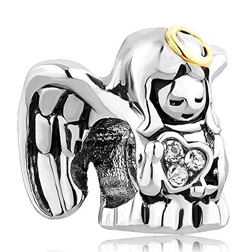 Korliya guardian angel charm per braccialetti, base metal, cod. emw_dpc_lf013