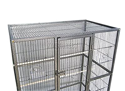 FoxHunter Large Metal Bird Cage Stand For Parrot Macaw Budgie Canary Finch Cockatiel Aviary Lovebird Parakeet With Wheel MBC-03 Hammered Silver from KMS