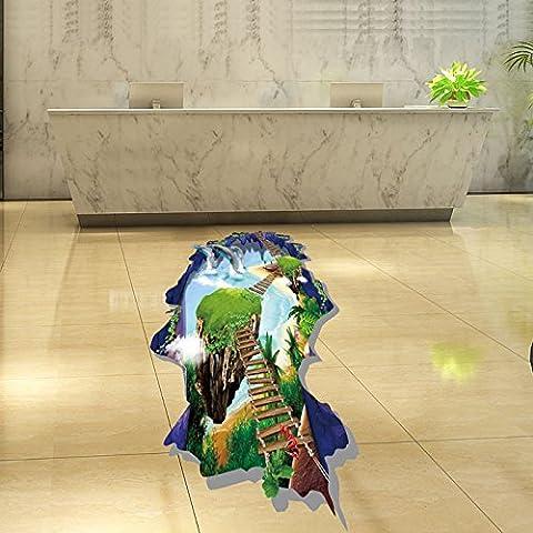 LLHZUO- caricatura delfines 3d paisaje puente escalera muro pegatinas decoracion de pared pegatinas decorativas el suelo del cuarto de baño
