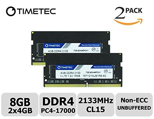 Timetec Hynix IC 8GB Kit (2x4GB) DDR4 2133MHz PC4-17000 Unbuffered Non-ECC 1.2V CL15 1Rx8 Single Rank 260 Pin SODIMM Laptop Notebook Computer Memory Ram Module Upgrade (8GB Kit (2x4GB))