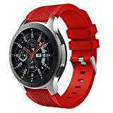 MuSheng For Samsung Galaxy Watch 46MM Armband Band,Fashion Fitness Weicher Silikon Ersatz Band Bügel Armband für Samsung Galaxy Watch 46MM (Rot)