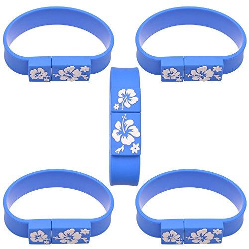 Uflatek 8 gb u disco 5 pezzi chiavetta usb blu memoria stick 2.0 bracciale pennetta usb portatile chiavi usb archiviazione dati un regalo simpatico