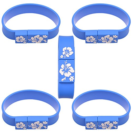 5 Stück USB Flash Laufwerk USB 2.0 Bracelet Memory Stick Blau Externe Datenspeicher USB Stick - 2 GB