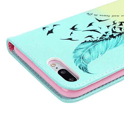 """Coque iPhone 7PLUS 5.5"""" , Lanveni Housse Étui en [Cuir PU +TPU][Portefeuille Fonction Support Flip] Phone Case de Protection [Fermeture Aimantée] ][Antichoc][Anti-poussière]-Ours et Couteau Oiseaux et Plume"""