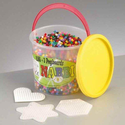 Nabbi fusione Set di perline in secchio con pannelli forati in plastica, colori di base, 8,000 pezzi