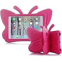 UCMDA - Carcasa infantil para iPad Mini, bonito diseño en forma de mariposa, a prueba de golpes, con función atril, compatible con tablet iPad Mini 1 / 2 / 3 / 4 de Apple (de 7,9 pulgadas), en rosa y rojo Rose Red iPad Mini 1/ 2/ 3/ 4