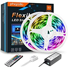 Led Strip Lights,PHOPOLLO Outdoor Waterproof RGB Colour Changing Lighting Strip, Led Light Strips with Remote 10m for Home Bedroom TV Kitchen, Ultra Bright DIY Decoration&Easy Installation