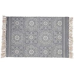 SHACOS Tapis en Coton avec des Gland Tapis tissés à la Main/Lavable Mat pour Chambre,Cuisine,buanderie (60 x 90cm)