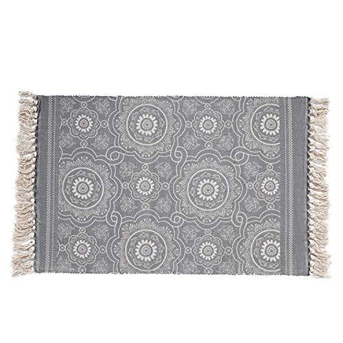 SHACOS Alfombra Tejida a Mano con borlas,alfombras de algodón Estampadas geométrica/Esterilla Lavable...