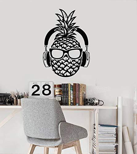 Dongwall Kreative Ananas DJ Vinyl Wandtattoo Kopfhörer Sonnenbrille Teenager Dekor Aufkleber Wandhauptdekor Schlafzimmer Spiel Room42 * 60 cm