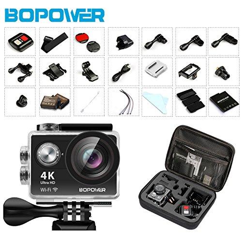 4K Action Camera, Bopower 60fps WIFI Sport Anti-Shake Waterproof Camera with 2.4G...