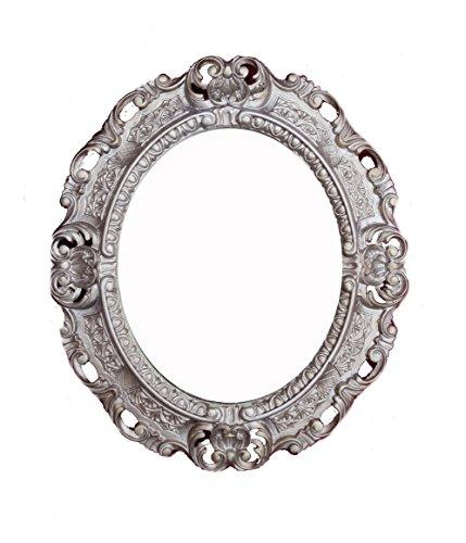 Lnxp WANDSPIEGEL Spiegel Oval in Altsilber REPRO 45x38 Antik Barock Rokoko Vintage REPLIKATE...