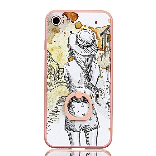 Voguecase Für Apple iPhone 7 Plus 5.5 hülle, Schutzhülle / Case / Cover / Hülle / TPU Gel Skin mit Ring Schnalle (Pink-Fashion Girl 05) + Gratis Universal Eingabestift Pink-zurück 06
