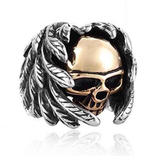 Golden_flower mit Federn Versehener Männlicher Ring mit Goldplakette Übertriebener Schmuck, Silber, 13#