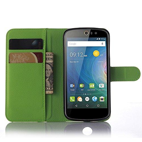 Tasche für Acer Liquid Z530 Hülle, Ycloud PU Ledertasche Flip Cover Wallet Case Handyhülle mit Stand Function Credit Card Slots Bookstyle Purse Design grün