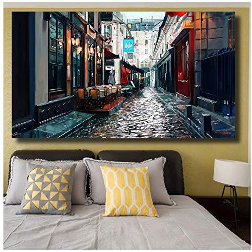 boboyz Leinwand Leinwanddruck Wanddekoration Rahmenlose straße malerei kopfsteinpflaster Paris Laterne Stuhl Regenschirm Ölgemälde Wandbilder -