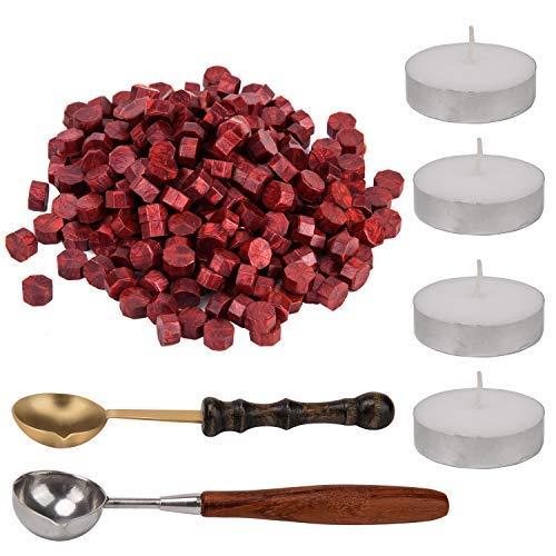 AIEX Siegelwachs Perlen Wachs Siegel Siegellack Waxing Seal Set mit 2 Stück Wachs Schmelzen Löffel und 4 Stück Kerzen für Siegelstempel Wax Seal Stempel Wax Sealing Stamp(200 Stück) (Rot)